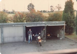 Colour image of staff garages