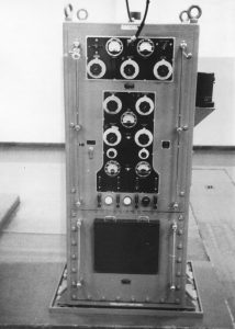 Black and White image of a Marconi T1509 transmitter